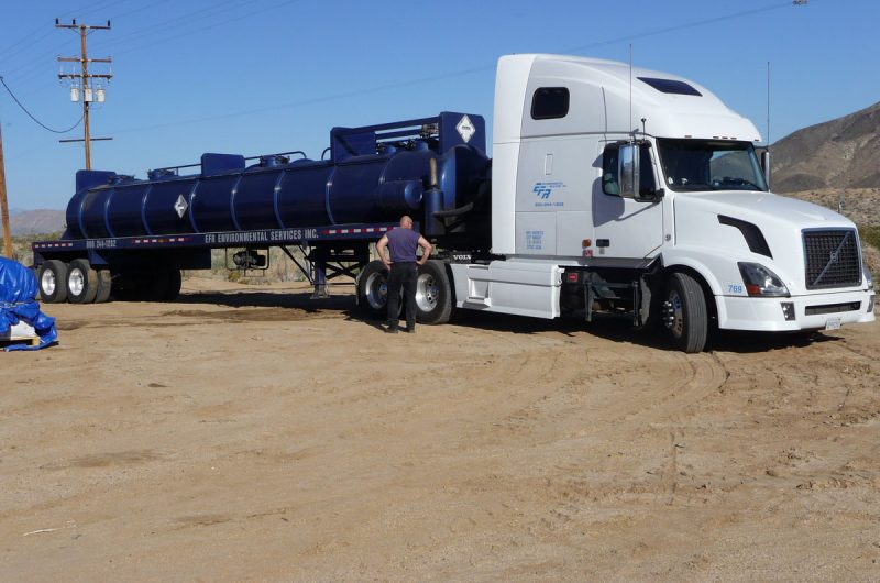 A tanker truck is used to haul wastewater to an industrial chemical disposal facility.